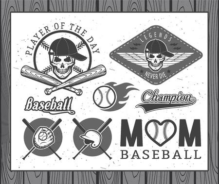 softbol: Conjunto de etiquetas de b�isbol del vintage e insignias