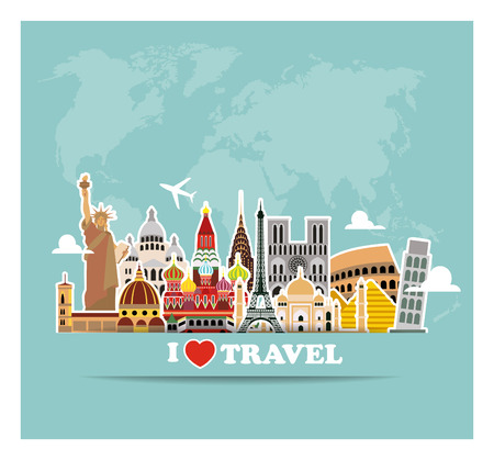 World landmarks  icons set. Vector illustration