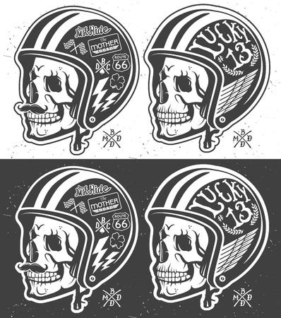 casco moto: Motocicleta temáticas hecho a mano dibujo casco con el cráneo.