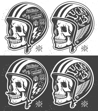 animal skull: Motorcycle Themed handmade drawing helmet with skull.