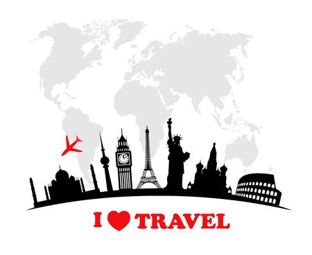 World landmarks  icons set. Vector illustration