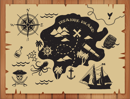 ancient ships: Pirate map pattern with island Illustration