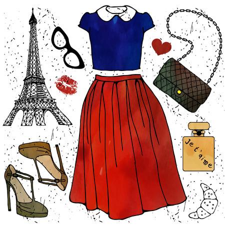 Fashion illustration. Paris style outfit. Vector