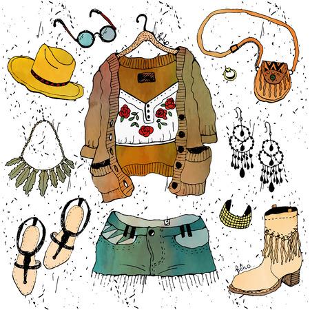 mujer hippie: Establece ilustración de moda la ropa. Boho chic Vectores