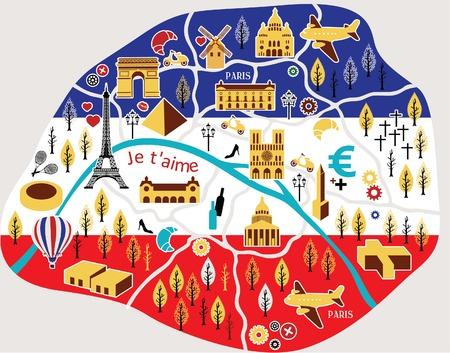 topographic map: Paris map Illustration
