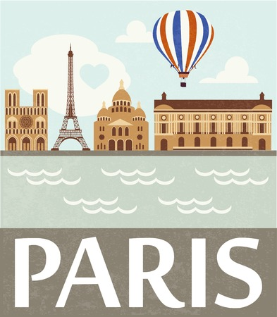 flag french icon: Paris illustration Illustration