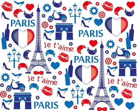 Paris illustration pattern. Vewctor illustration. Vector