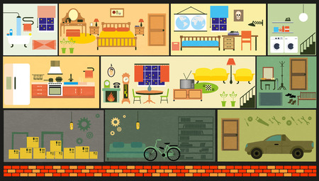 balcony view: House cartoon interior. Cartoon living rooms with furniture.