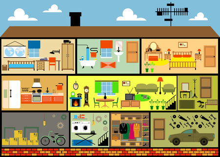 domestic garage: House cartoon interior. Cartoon living rooms with furniture.