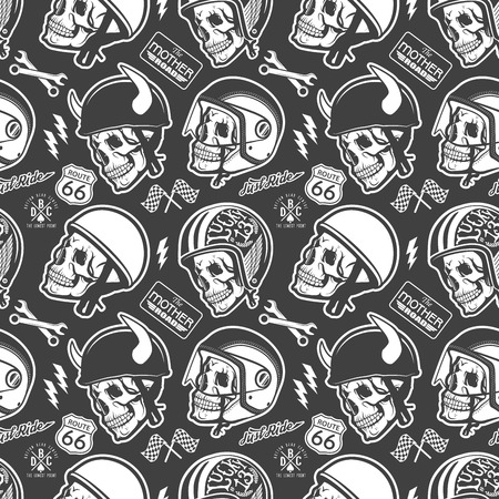 Pattern with skull and helmet Stock Illustratie