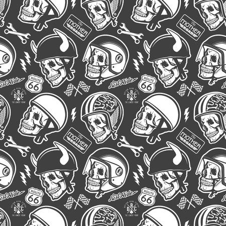 Pattern with skull and helmet Vettoriali