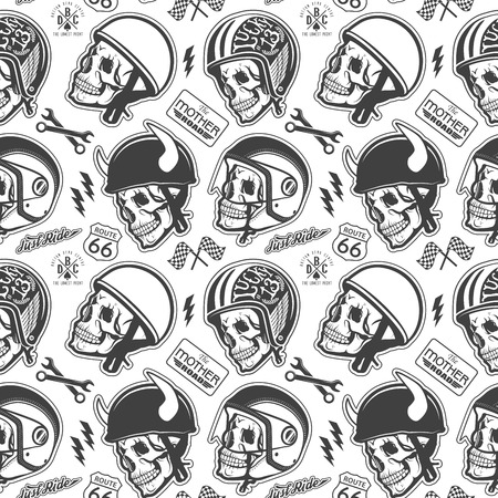 Pattern with skull and helmet Vectores