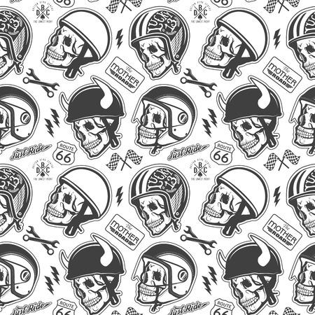 calavera: Patrón con el cráneo y casco Vectores
