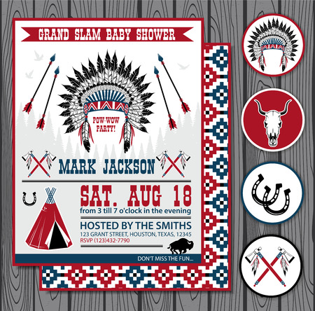 POW WOW BOY Birthday Invitation with circle stickers Vector