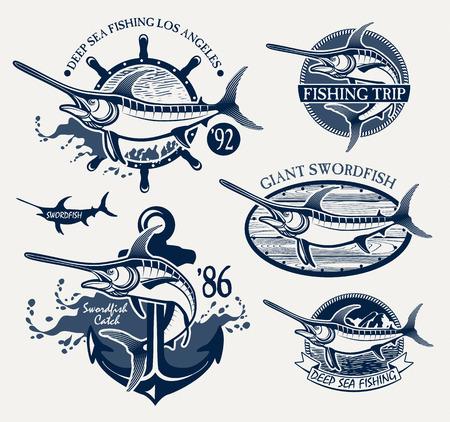 Vintage zwaardvis vissen emblemen, labels en design-elementen Stock Illustratie