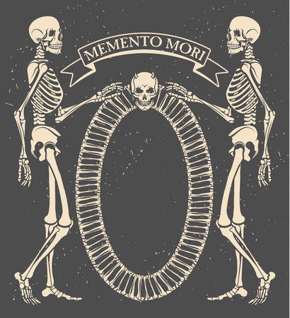 occult: Memento mori. Vector illustration with skeletons