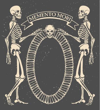 Memento mori. Vector illustration with skeletons
