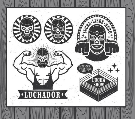 メキシコ レスラー セット。ルチャリブレ  イラスト・ベクター素材