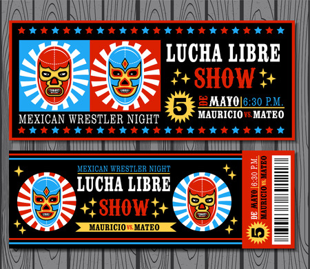 mexican culture: Set of vintage Lucha Libre tickets Illustration