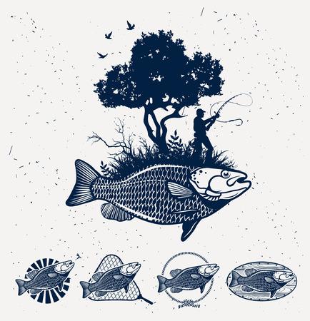 white salmon river: Vintage fishing emblems, labels and design elements Illustration