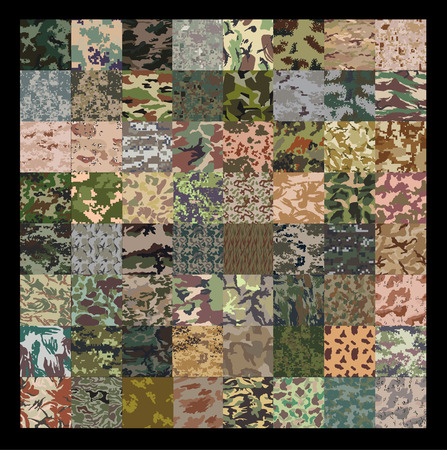 64 Set of camouflage pattern. 矢量图像