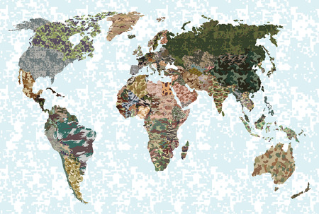 mapa politico: Political camouflage map of the world