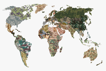 Political camouflage map of the world