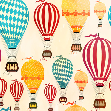 Vintage  Color Air balloon pattern.  Vector illustration.
