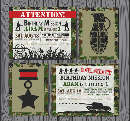 army background: Camo Army Birthday Invitation . Vector illustration
