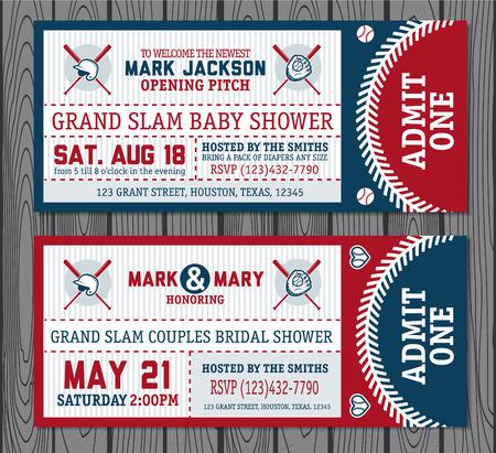 Set of vintage baseball tickets. Vector illustration