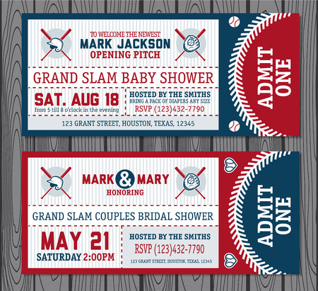 Set of vintage baseball tickets. Vector illustration