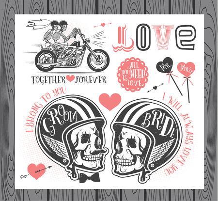 head tag: Set of wedding invitation vintage design elements.Vector Illustration with Skulls of Bride and Groom.