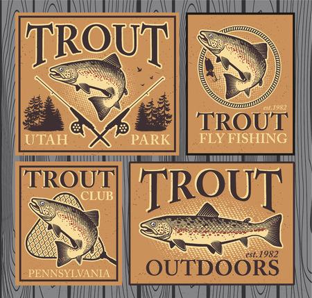 trucha: Emblemas de pesca de la trucha del vintage, etiquetas y elementos de diseño