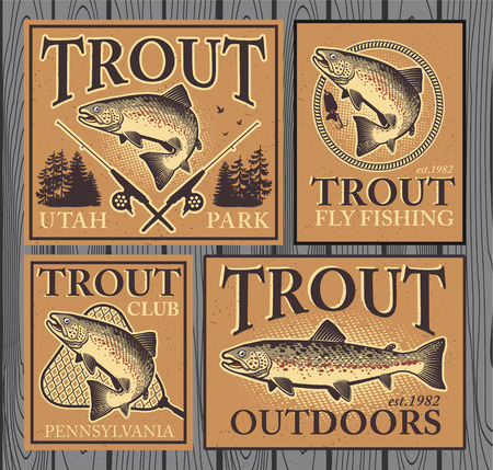 trout fishing: Vintage trout fishing emblems, labels and design elements