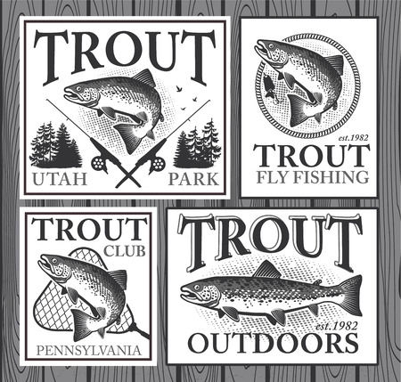 flying fish: Vintage trout fishing emblems, labels and design elements