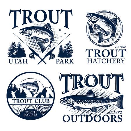 truchas: Emblemas de pesca de la trucha del vintage, etiquetas y elementos de dise�o