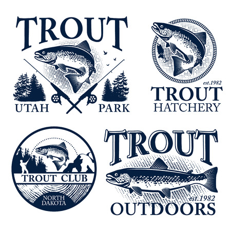 fishing lake: Vintage trout fishing emblems, labels and design elements