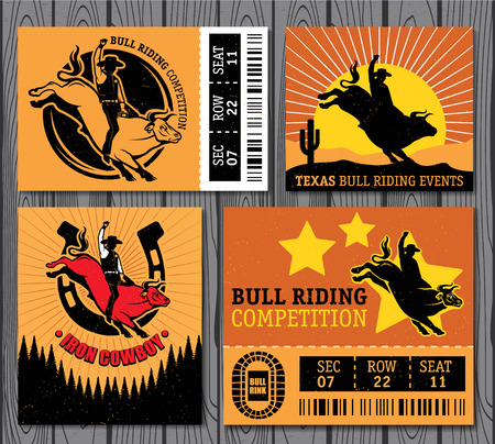 Set of vintage bull riding labels, badges and design elements Illustration