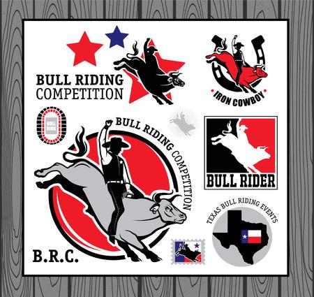 bull fight: Set of vintage bull riding labels, badges and design elements Illustration