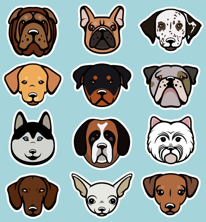 child and dog: Vector set of funny cartoon dogs. Vector illustration.