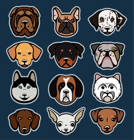 hunters: Vector set of funny cartoon dogs. Vector illustration.