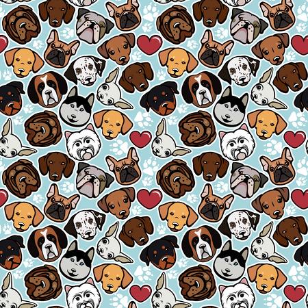 cane chihuahua: Seamless pattern con razze canine. Illustrazione vettoriale.