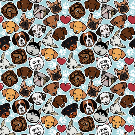 pug puppy: Seamless pattern with dog breeds. Vector illustration.