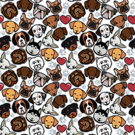 Seamless pattern with dog breeds. Vector illustration.