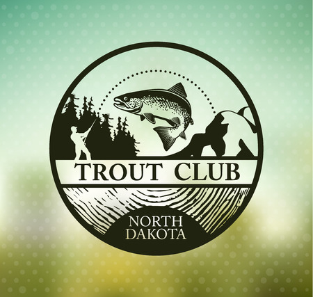 rainbow trout: Fishing emblem on blur background. Vectr illustration.