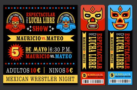 traje mexicano: Conjunto de boletos de Lucha Libre de la vendimia. Ilustración VECTR. Vectores