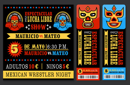Set of vintage Lucha Libre tickets. Vectr illustration. Çizim