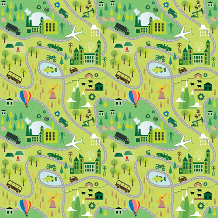 traffic rules: Cartoon map seamless pattern with roads. Vectr illustration.