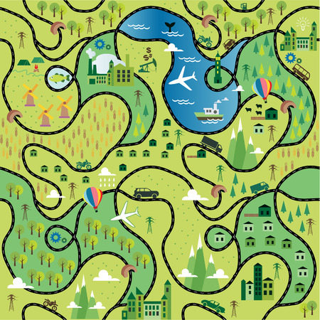 squire: Cartoon map seamless pattern with roads. Vectr illustration.