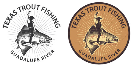 rainbow trout: Vintage trout fishing emblems, labels and design elements. Illustration